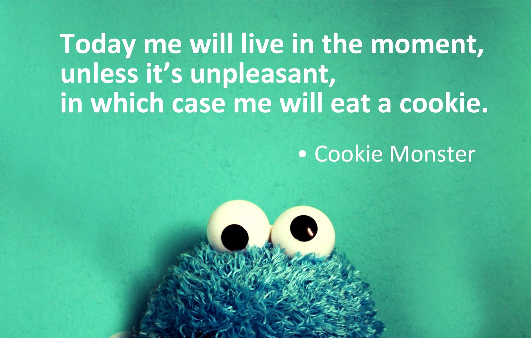 cookie monster quotes live in the moment images pictures